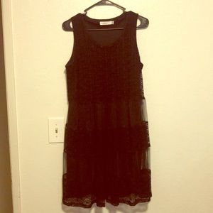 Black lace summer dress with silk inner lining